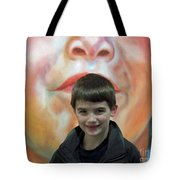 Boy With His Portrait Tote Bag