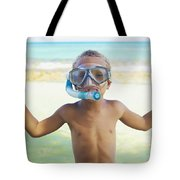 Boy With Snorkel Tote Bag by Kicka Witte