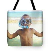 Boy With Snorkel Tote Bag