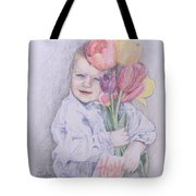 Boy With Tulips Tote Bag by Kathy Weidner