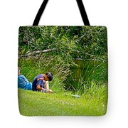 Boys Fishing In Pipestone National Monument-minnesota Tote Bag