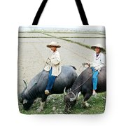 Boys On Water Buffalo In Countryside-vietnam Tote Bag