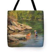Boys Playing In The Creek Tote Bag