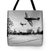 Low-flying Spitfires Black And White Version Tote Bag