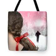 Braided Hair With Red Ribbon Tote Bag