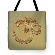 Gold Brass Om Mandala Tote Bag
