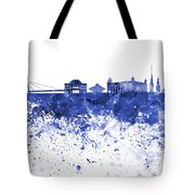 Bratislava Skyline In Blue Watercolor On White Background Tote Bag
