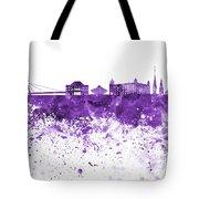 Bratislava Skyline In Purple Watercolor On White Background Tote Bag