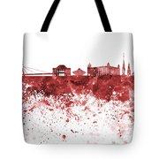 Bratislava Skyline In Red Watercolor On White Background Tote Bag