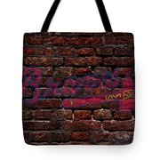 Braves Baseball Graffiti On Brick  Tote Bag