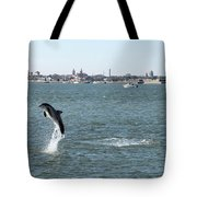 Breaching Dolphin Tote Bag