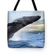 Breaching Humpback Whale Tote Bag