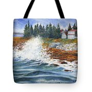 Breakers At Pemaquid Tote Bag