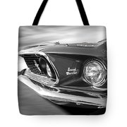 Breaking The Sound Barrier - Mach 1 428 Cobra Jet Mustang In Black And White Tote Bag