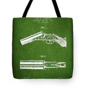 Breech Loading Gun Patent Drawing From 1883 - Green Tote Bag