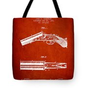 Breech Loading Gun Patent Drawing From 1883 - Red Tote Bag
