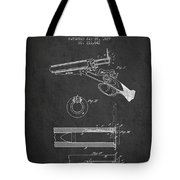 Breech Loading Shotgun Patent Drawing From 1879 - Dark Tote Bag