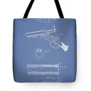 Breech Loading Shotgun Patent Drawing From 1879 - Light Blue Tote Bag