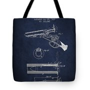 Breech Loading Shotgun Patent Drawing From 1879 - Navy Blue Tote Bag
