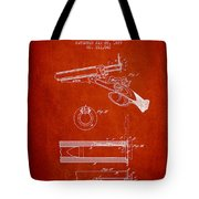 Breech Loading Shotgun Patent Drawing From 1879 - Red Tote Bag