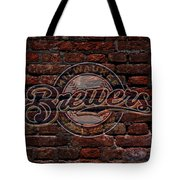 Brewers Baseball Graffiti On Brick  Tote Bag