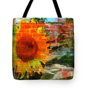 Bricks And Sunflowers Tote Bag