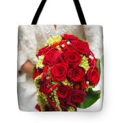 Bridal Bouquet With Red Roses Tote Bag