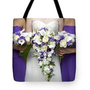 Bride And Bridesmaids With Wedding Bouquets Tote Bag