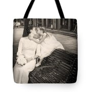 Bride And Daughter Kiss In Jackson Square New Orleans Tote Bag
