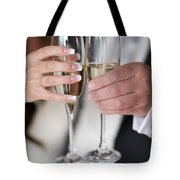 Bride And Groom Champagne Toast Tote Bag