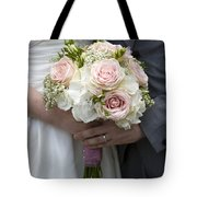 Bride And Groom Hold Wedding Bouquet Tote Bag