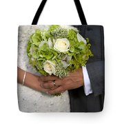 Bride And Groom With Wedding Bouquet Tote Bag