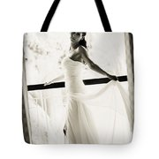 Bride At The Balcony. Black And White Tote Bag