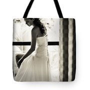 Bride At The Balcony II. Black And White Tote Bag by Jenny Rainbow