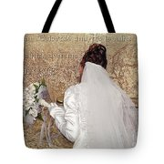 Bride At The Wall Tote Bag