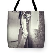 Bride At The Window. Black And White Tote Bag
