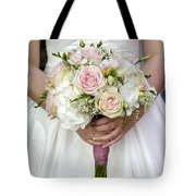 Bride Holding A Bouquet Of Wedding Flowers Tote Bag