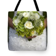 Bride Holding A Wedding Bouquet Tote Bag
