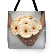 Bride Holding Gerbera Bouquet Tote Bag