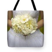 Bride With Wedding Bouquet Tote Bag