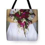 Brides Bouquet And Wedding Dress Tote Bag