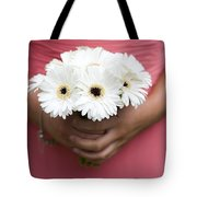 Bridesmaid Holding A Bouquet Of Berbera Tote Bag