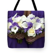 Bridesmaids With Wedding Bouquets Tote Bag