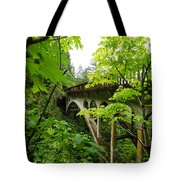 Bridge And Lush Vegetation Tote Bag