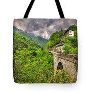 Bridge And Mountain Tote Bag