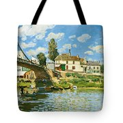 Bridge At Villeneuve-la-garenne Tote Bag by Alfred Sisley