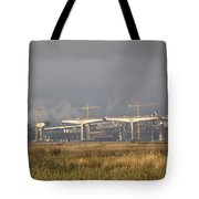 Bridge Building Tote Bag by Bill Gallagher