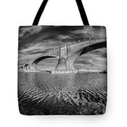 Bridge Curvature In Black And White Tote Bag