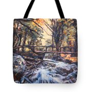 Morning Bridge In Woods Tote Bag