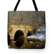 Bridge In Woods Tote Bag